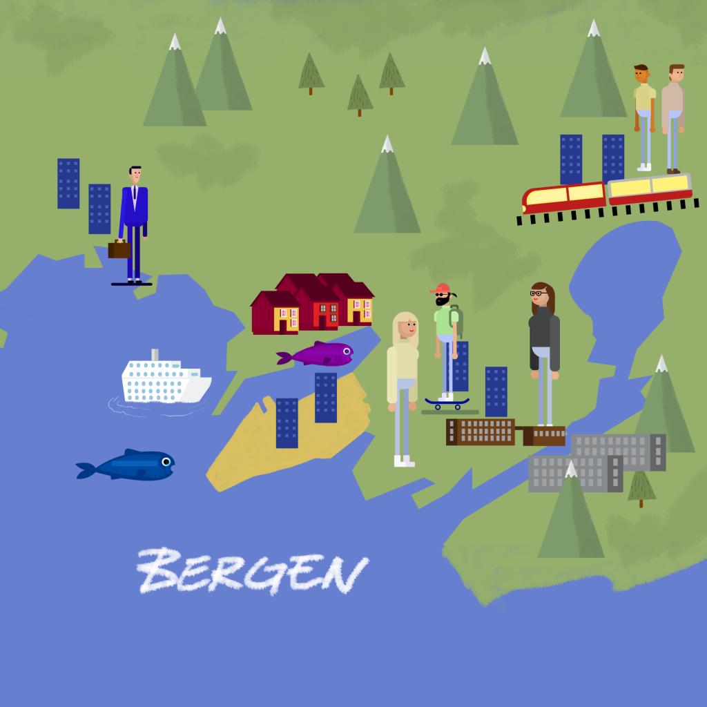 Kart over Trondheim. Illustrerer hvor du kan finne deg en plass å bo