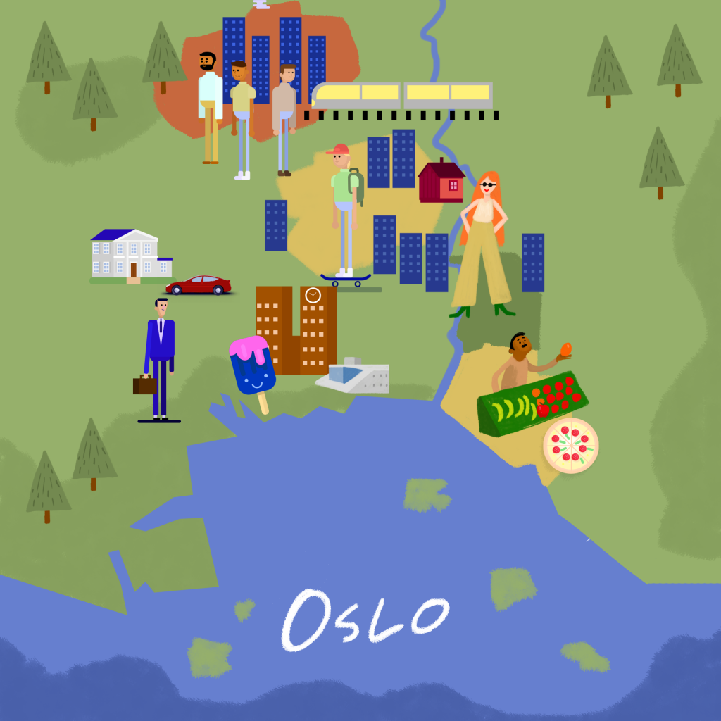 Kart over Oslo. Illustrerer hvor du kan finne deg en plass å bo